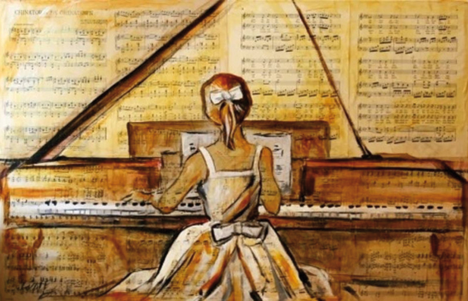 Mädchen am Klavier