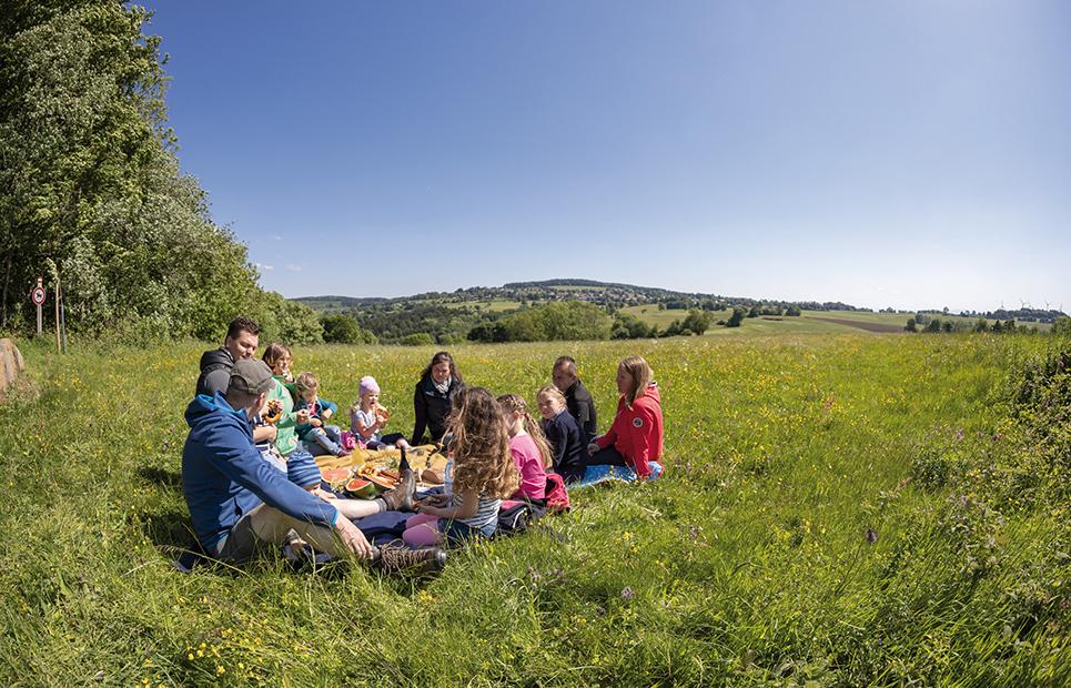 Familie beim Picknick auf einer großen Wiese bei Herchenhain